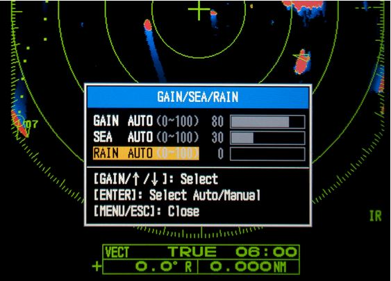 Advanced auto-adjust settings for Gain-Sea clutter-Rain clutter du 1815